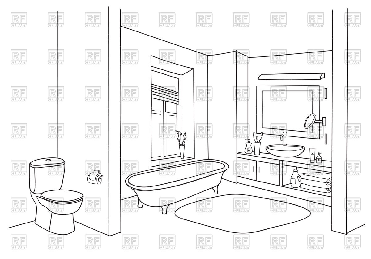 Bathroom interior sketch Stock Vector Image.