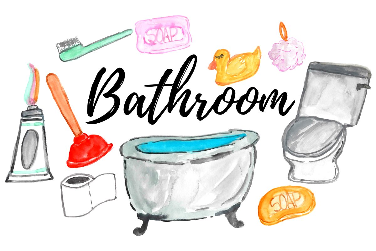 watercolor home bathroom clipart.