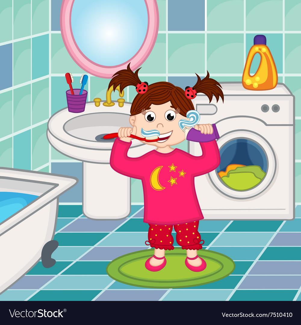 Girl brushing teeth in bathroom.