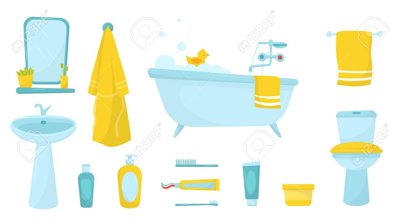 Flat vector set of bathroom items. Bath with foam and rubber...