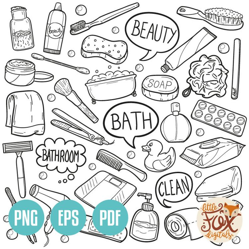 EPS VECTOR Bathroom WC Accesories Bath Items Beauty Home House Objects  Doodle Icons Clipart Scrapbook Coloring Hand Drawn Scribble Sketch.