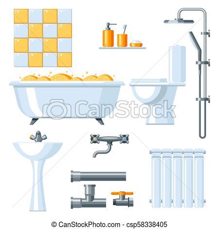 Bathroom interior. Plumbing icon set..