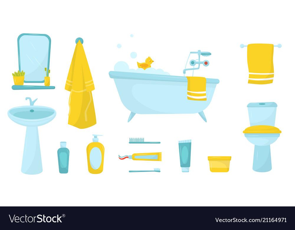 Flat set of bathroom items bath with foam.