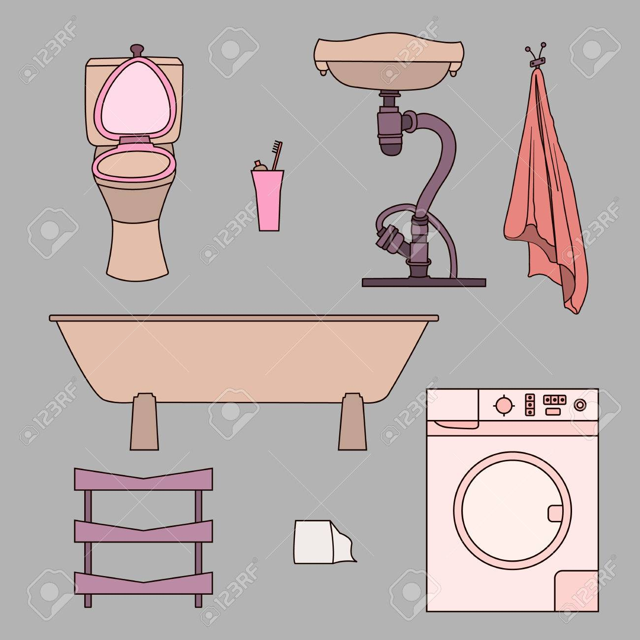 Set of drawn doodles of bathroom items. Objects isolated on gray...