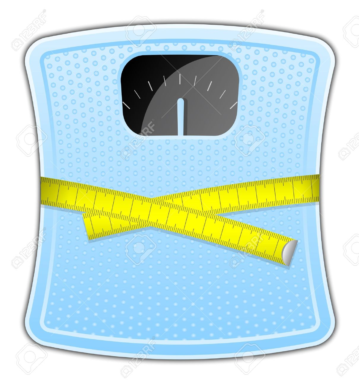 Vector Illustration Of Blue Bathroom Scale With Measuring Tape.