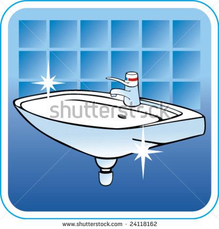 Clean bathroom sink clipart.