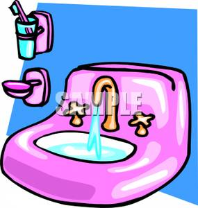 Bathroom Counter And Sink Clipart.