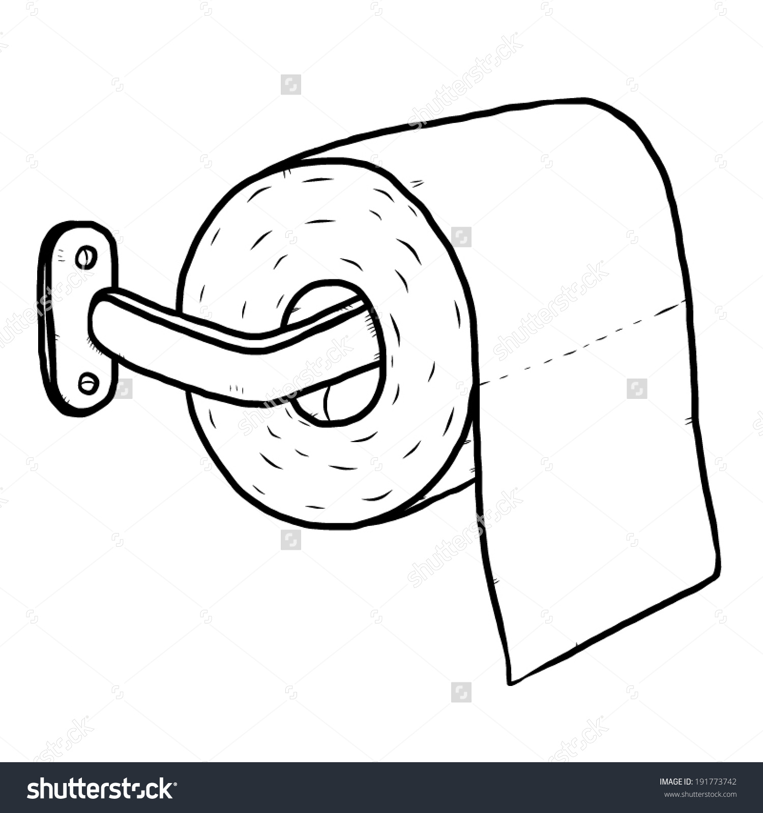 Toilet paper clipart black and white.