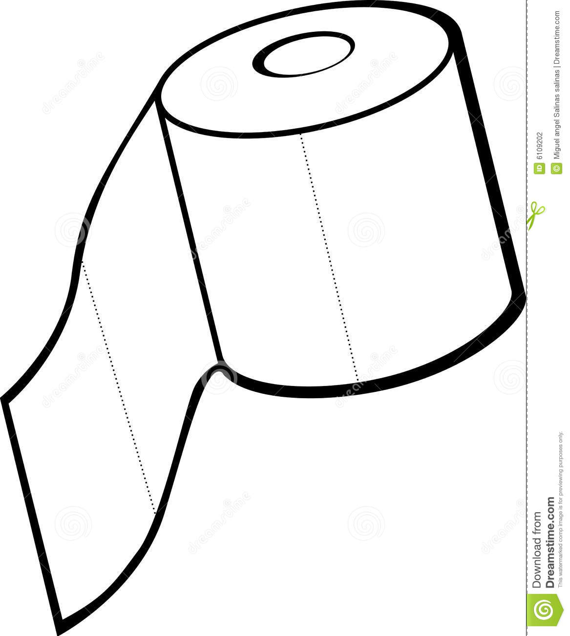 Clip Art of Toilet Tissue Roll.