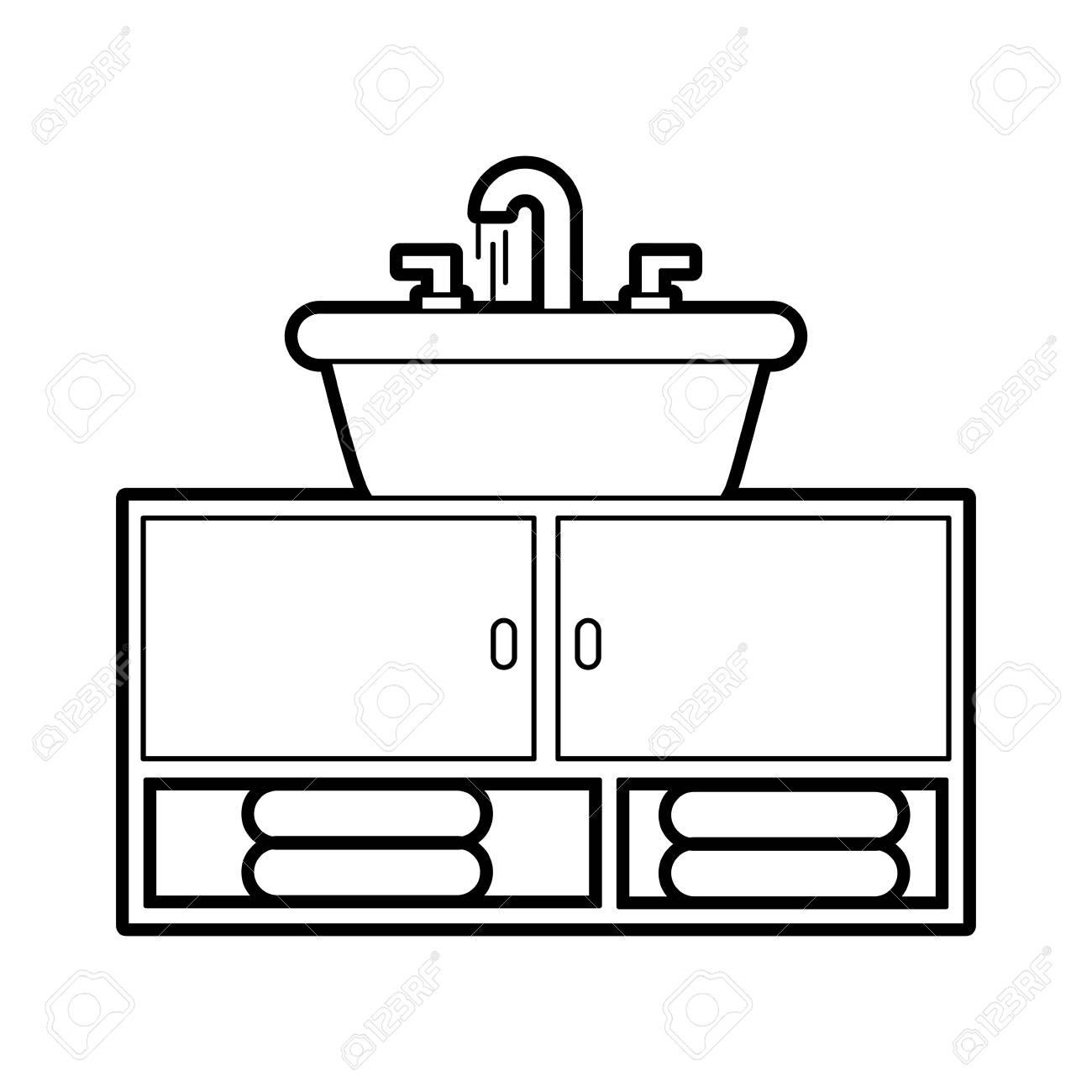 bathroom interior with sink vanity cabinet furniture vector illustration.