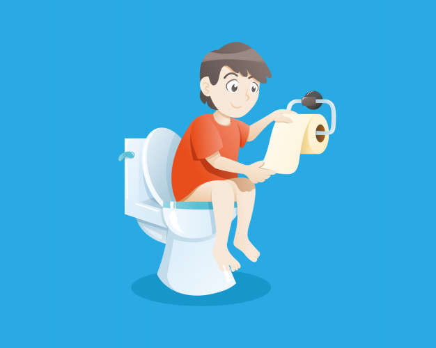 Boy using toilet bowl Vector.