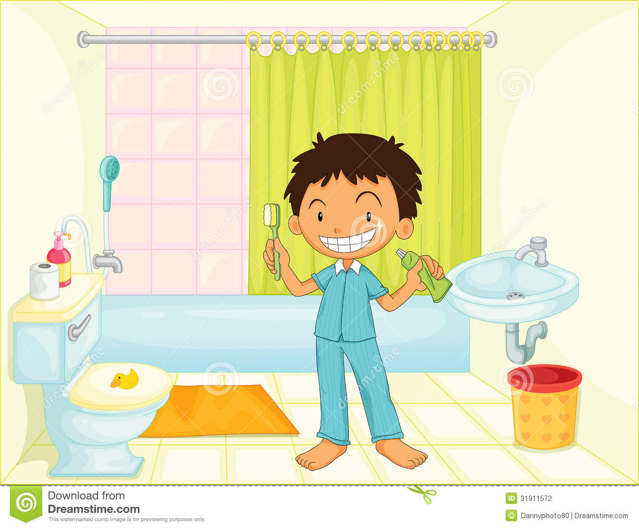 Kids cleaning bathroom clipart.