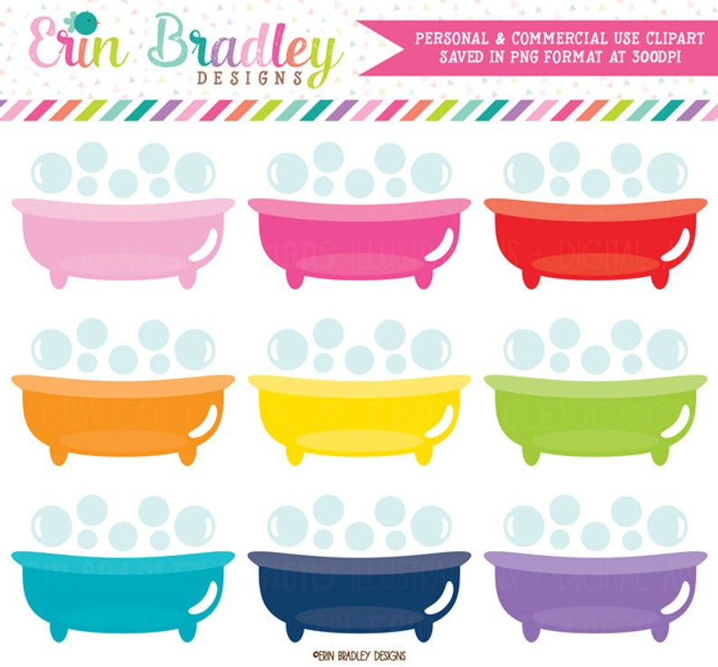Bathtub Clip Art Graphics Commercial Use Bathtime Clipart.