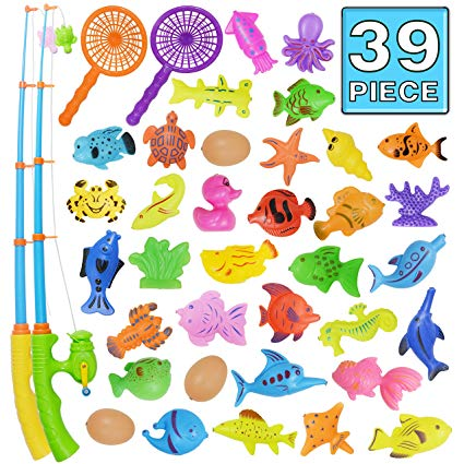 Bath Toy,39 Piece Magnetic Fishing Toy,Original Color Waterproof Floating  Fishing Play Set in Bathtub Pool Bathtime Learning Education Toys For Boys.