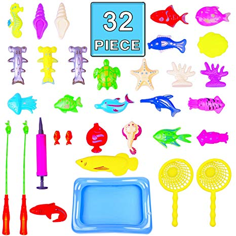 Bath Toy,32 Piece Magnetic Fishing Toy Waterproof Floating Fishing Play in  Bathtub Bathroom Pool Bath Time Learning Education for Boys Girls Toddler.
