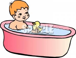 Boy in bathtub clipart.