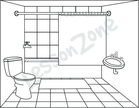 Bathroom clipart black and white, Bathroom black and white.