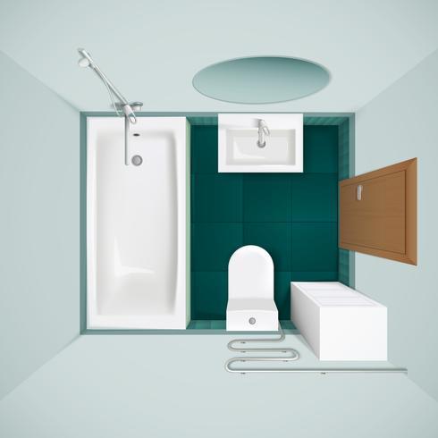 Bathroom Interior Top View Realistic Image.
