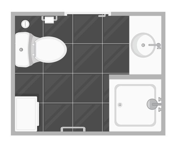 Bathroom interior top view vector illustration. Floor plan.