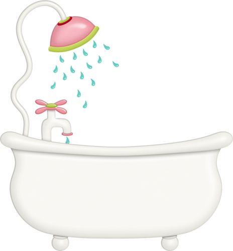 Pink shower head with bathtub.