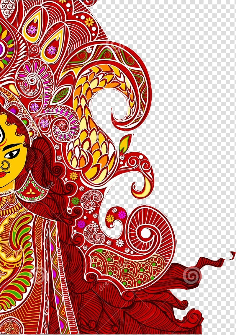 Woman illustration, Durga Puja Dussehra Wish Bathukamma.
