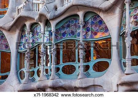 Stock Photo of Casa Batllo (Batllo House) by Antonio Gaudi.