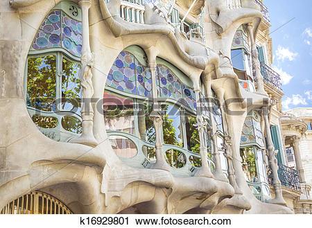 Clipart of Modernist Casa Batllo facade, in Barcelona, Spain.