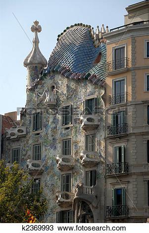 Stock Photo of Antoni Gaudis Gasa Batllo in Barcelona, Spain.