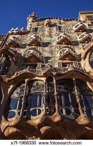 Stock Photography of Casa Batllo (Batllo House) by Antonio Gaudi.