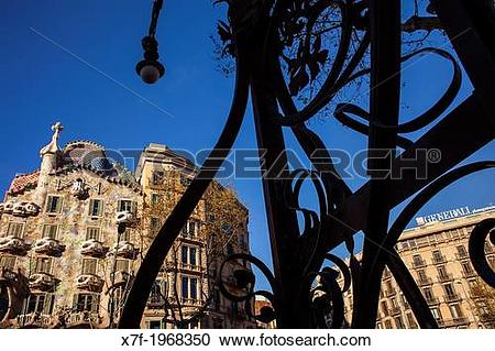 Stock Photography of Passeig de Gracia,Casa Batllo (Batllo House.