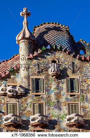 Stock Images of Casa Batllo (Batllo House) by Antonio Gaudi.