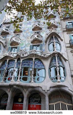 Stock Photograph of Casa Batllo by architect Antoni Gaudi.