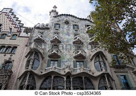 Stock Illustrations of Casa Batllo in Barcelona, Spain by.