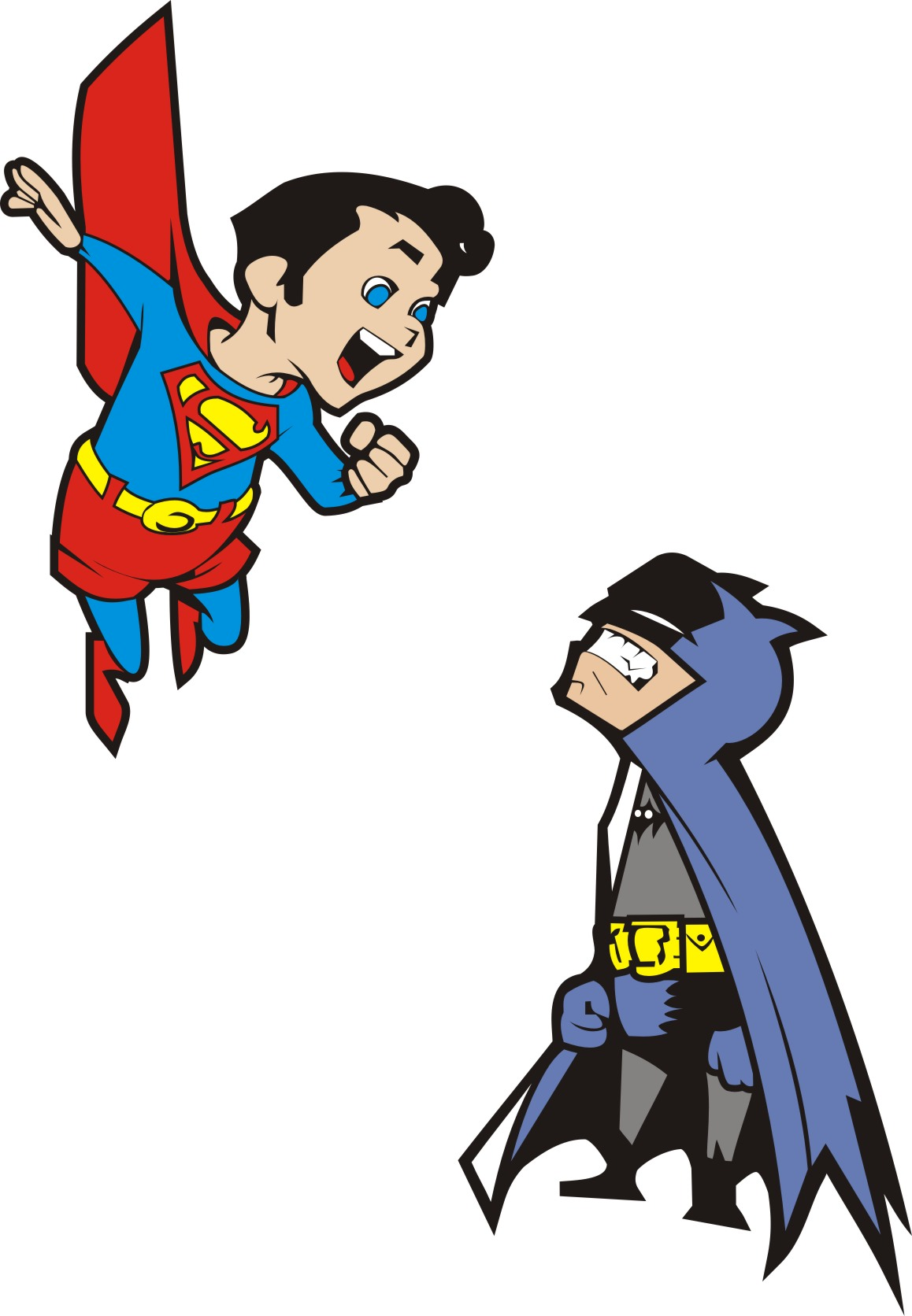 Cool Superman And Batman Clipart.
