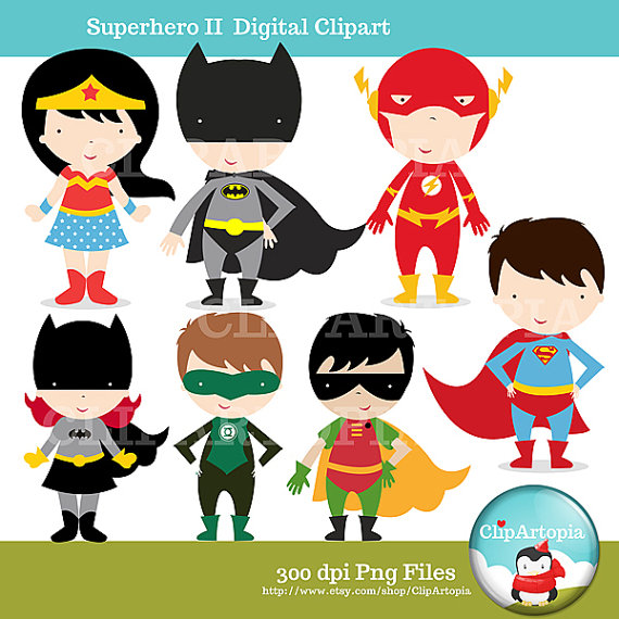 cute superhero clipart The Justice League wonder woman batman.