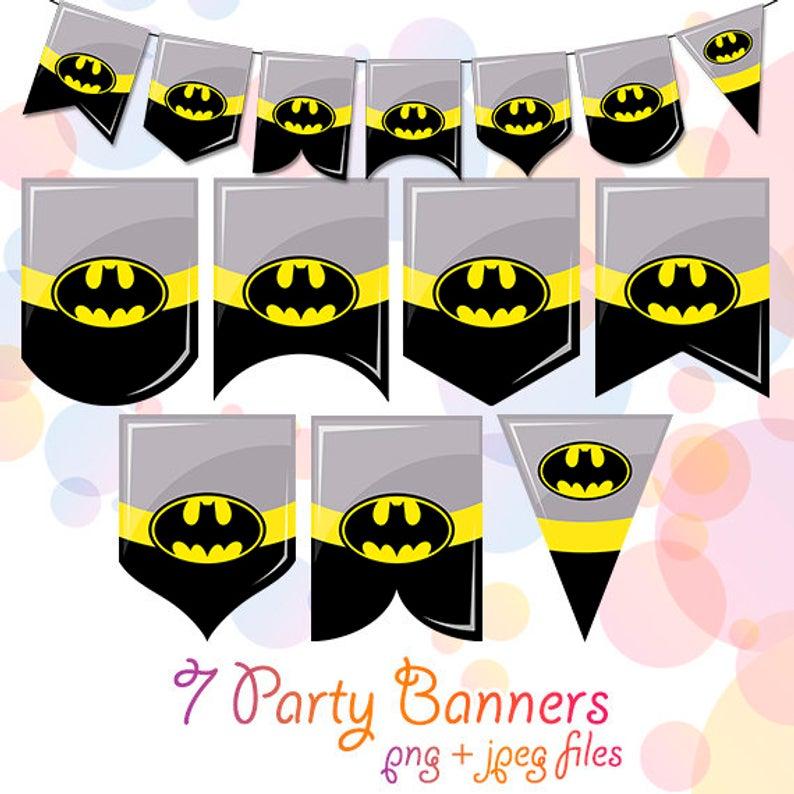 Batman Banner Clipart Printable Flags Props Superhero Birthday Party  Decorations Supplies Garland Digital Download Bunting Decor Bday PDF.
