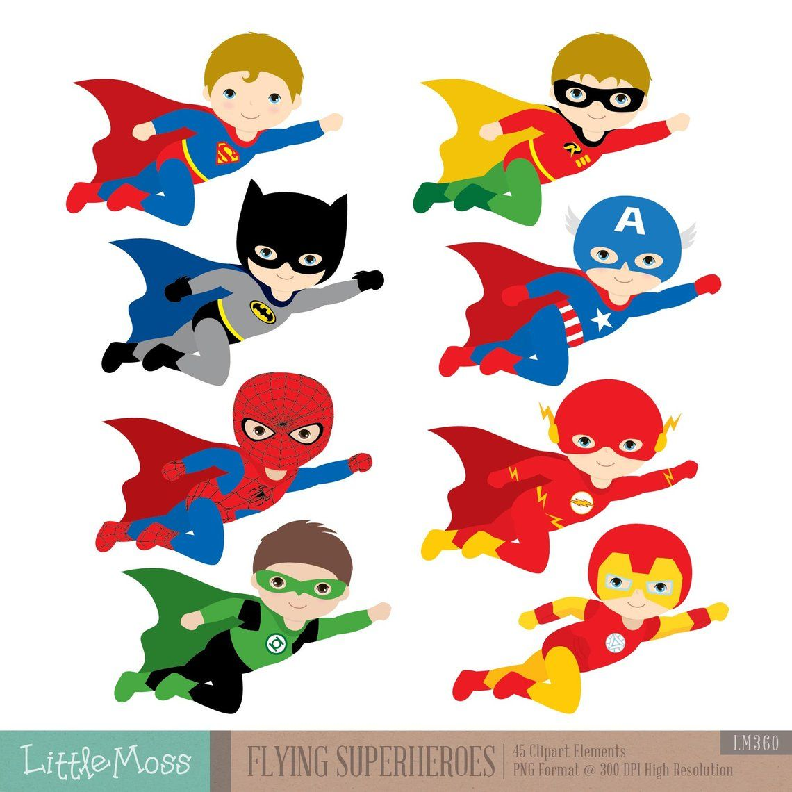 Flying Superhero Clipart, Superheroes Kids Clipart.