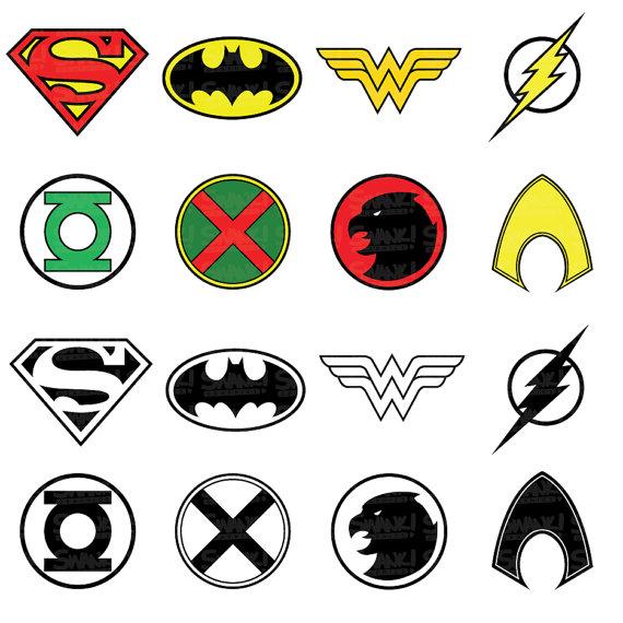 Justice League Superhero Symbol Clipart.