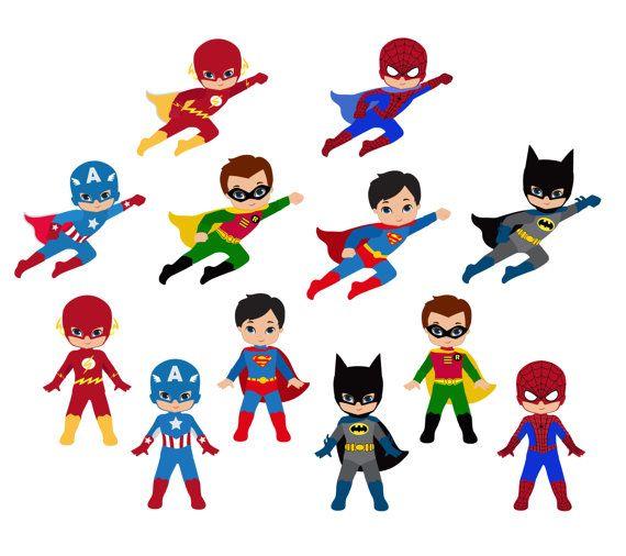 50% Boy Superhero Clip Art / Little Boys Superheroes.