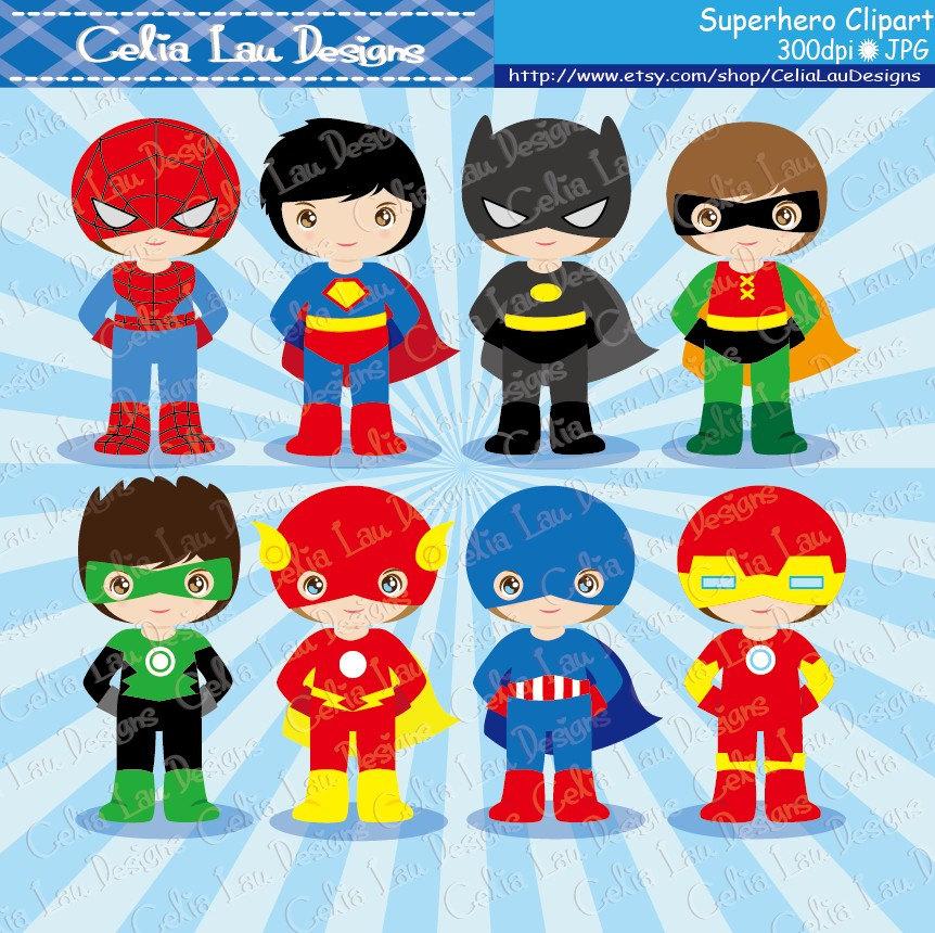 1607 Superheroes free clipart.