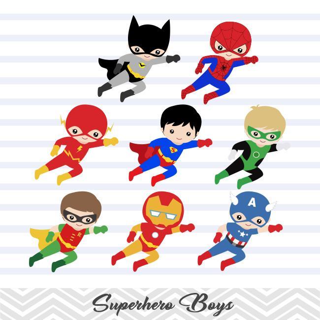 24 Superhero Boys Digital Clip Art, Little Boy Superhero Clipart, Avengers  Clip Art, 00190.