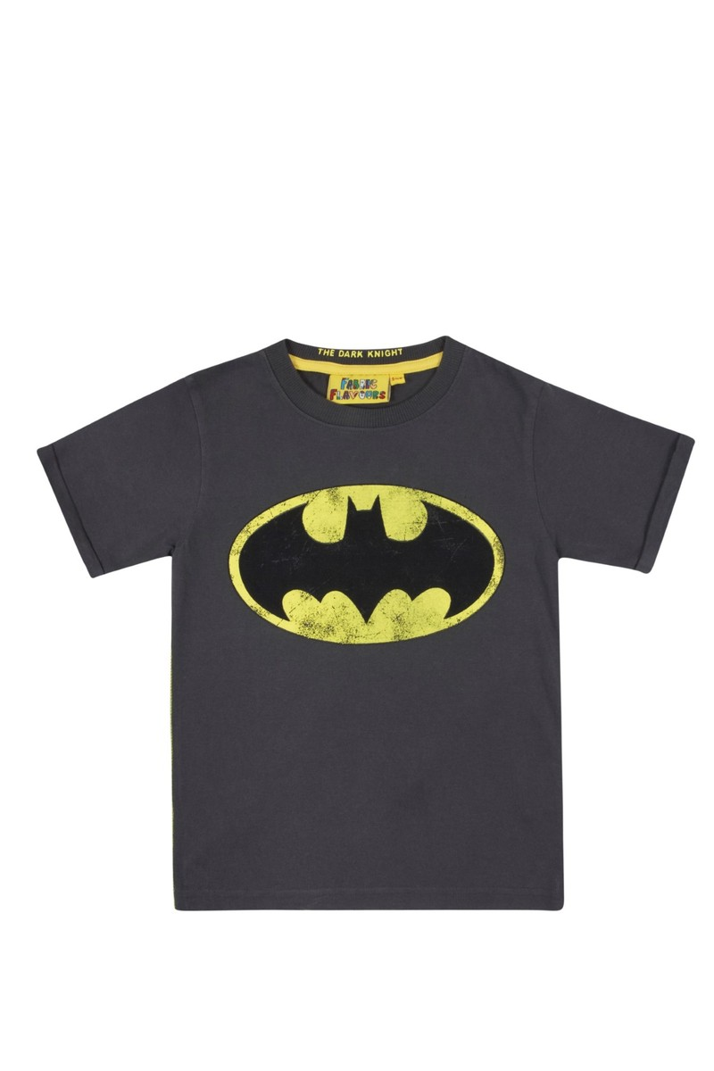 DC Comics Batman Logo Vintage Wash Charcoal Boys T.