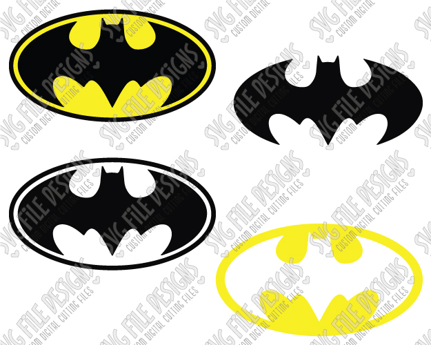 Batman Logo Cut File Set in SVG, EPS, DXF, JPEG, and PNG.