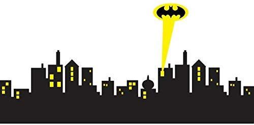 Cool Removable Wall Sticker Gotham City Skyline Batman Decal.
