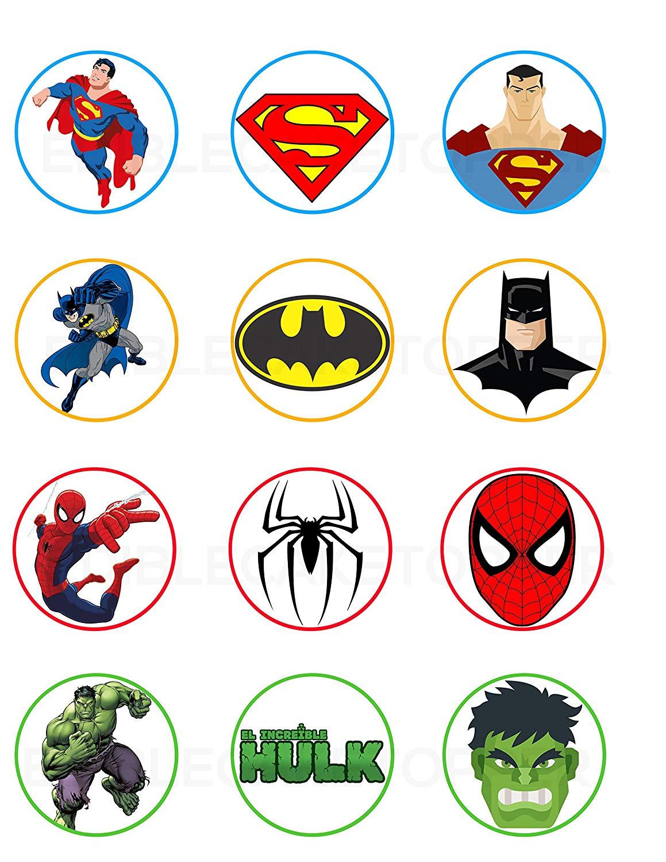 Superman, Batman, Spiderman, Hulk Edible Cupcake Toppers (12.