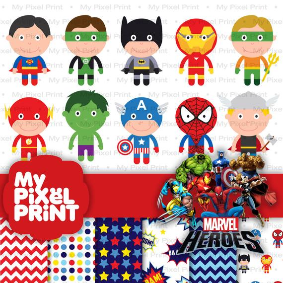 Cute Superhero Digital Clipart, Batman, Superman, Ironman, Captain America,  Spiderman, Flash, Thor, Hulk PNG Marvel Super Hero.