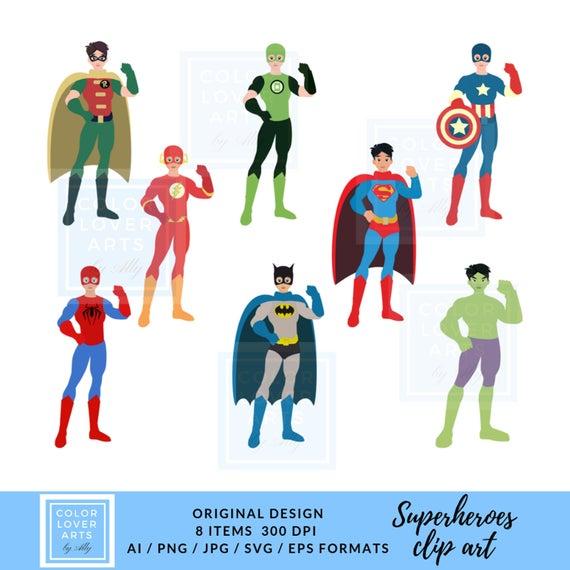 Superhero clipart Hulk Batman Captain America Comics Clipart superheroes  Robin DC Marvel Superman Flash Green lattern Spider.