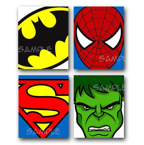 SUPER HEROS Artwork ALL 4 8x10 Art Prints Batman Superman.