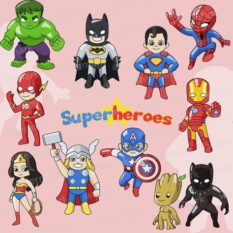 Avengers clipart, superman, batman, spiderman, iron man.