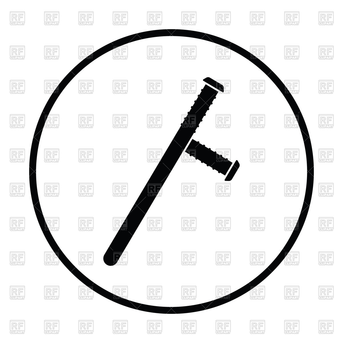 Silhouette of police baton icon Stock Vector Image.